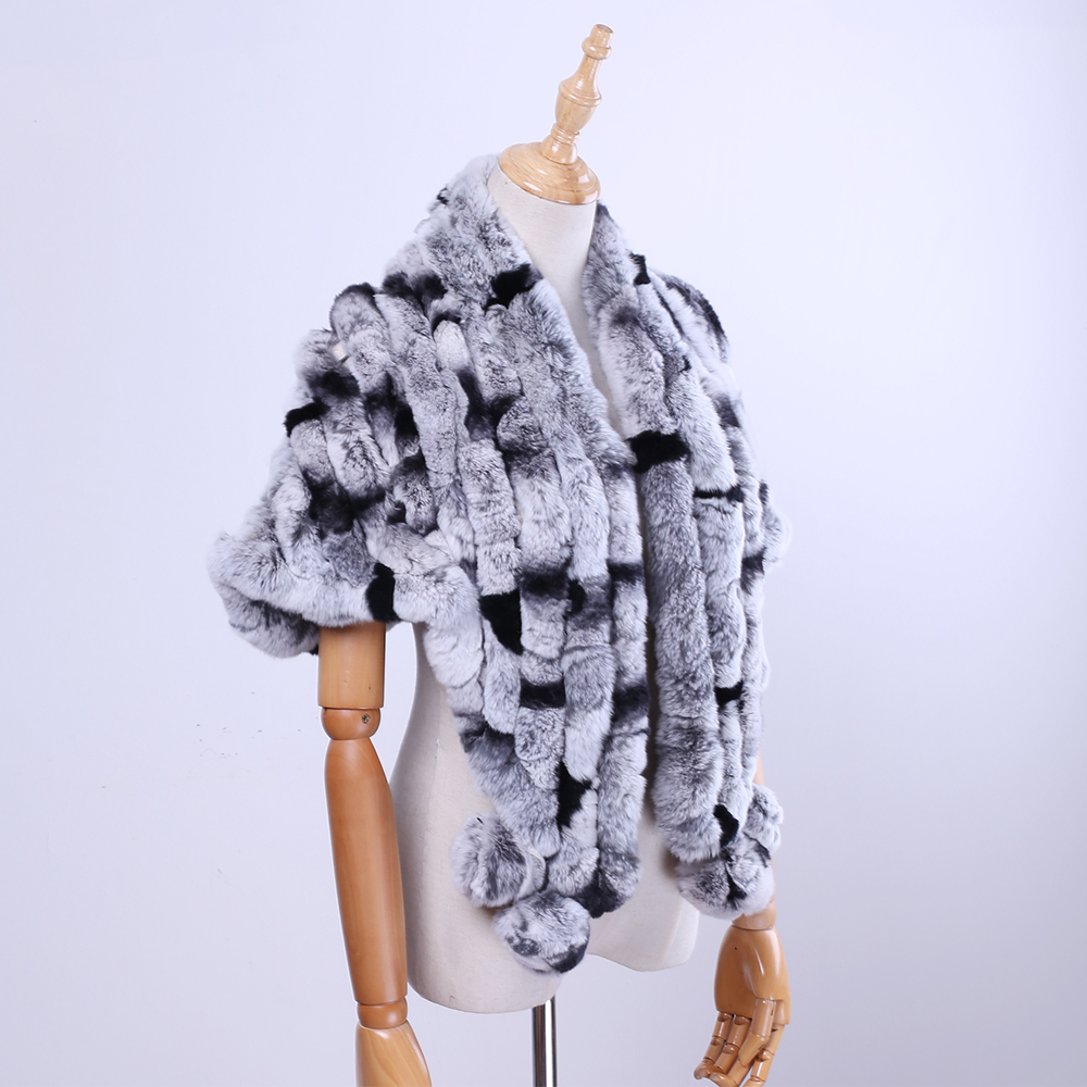 Brand New Women's Lady Fashion Genuine Rex Rabbit Fur Shawl Poncho Fur Cape Scarfs   Scarves     Wraps   Real Fur Pashmina