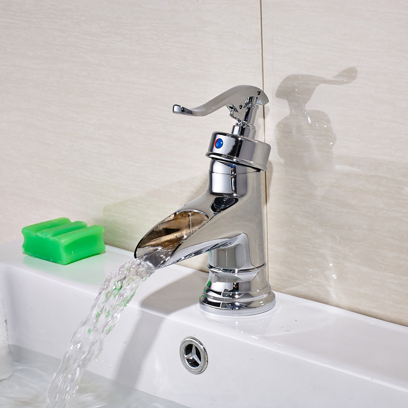 ФОТО Pump Style One Handle Bathroom Sink Faucet Waterfall Hot and Cold Short Basin Mixer Taps