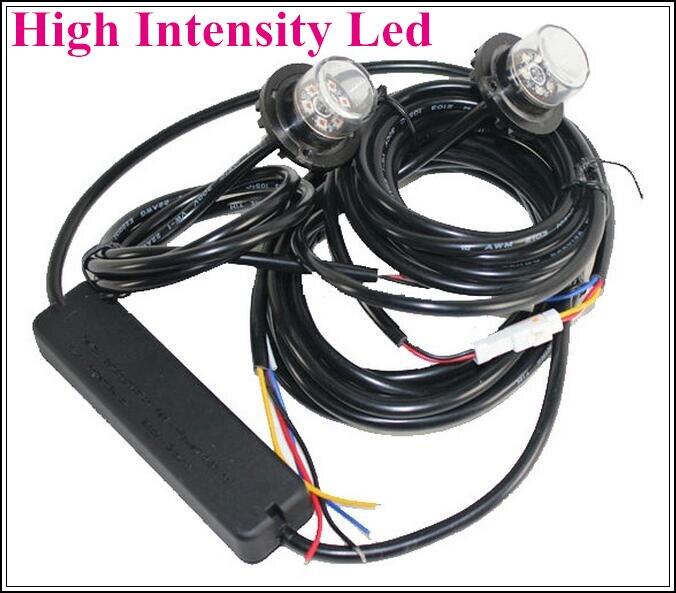 Lumières d'avertissement stroboscopiques extérieures lumineuses de voiture de 12 W Led, lumières de cachette, lumières de secours de gril, 1 contrôleur + 2 têtes de led, imperméable à l'eau
