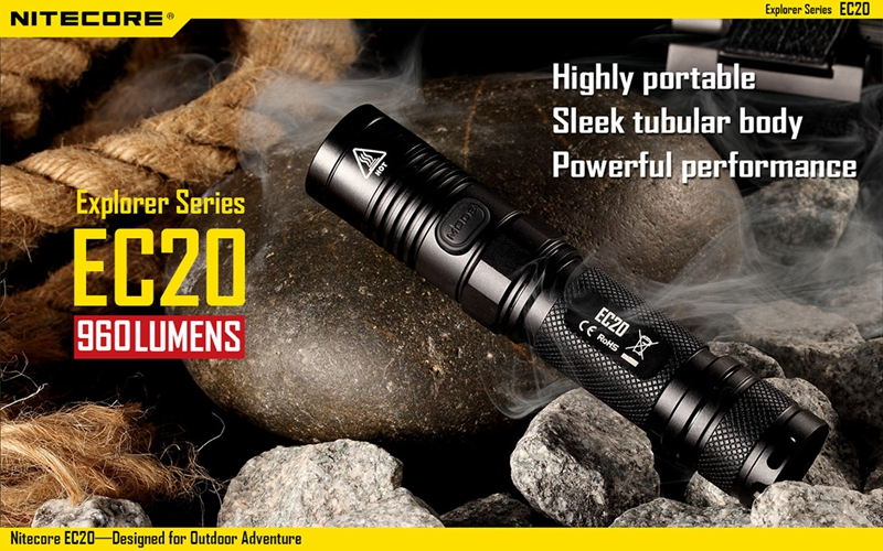 Nitecore EC20 CREE XM-L2 T6 LED Flashlight 960 Lumens Waterproof 18650 Outdoor Camping Hunting Portable Torch Not Battery nitecore p12 tactical flashlight with nitecore nl186 18650 2600mah battery xm l2 u2 led 1000 lumens outdoor camping portable