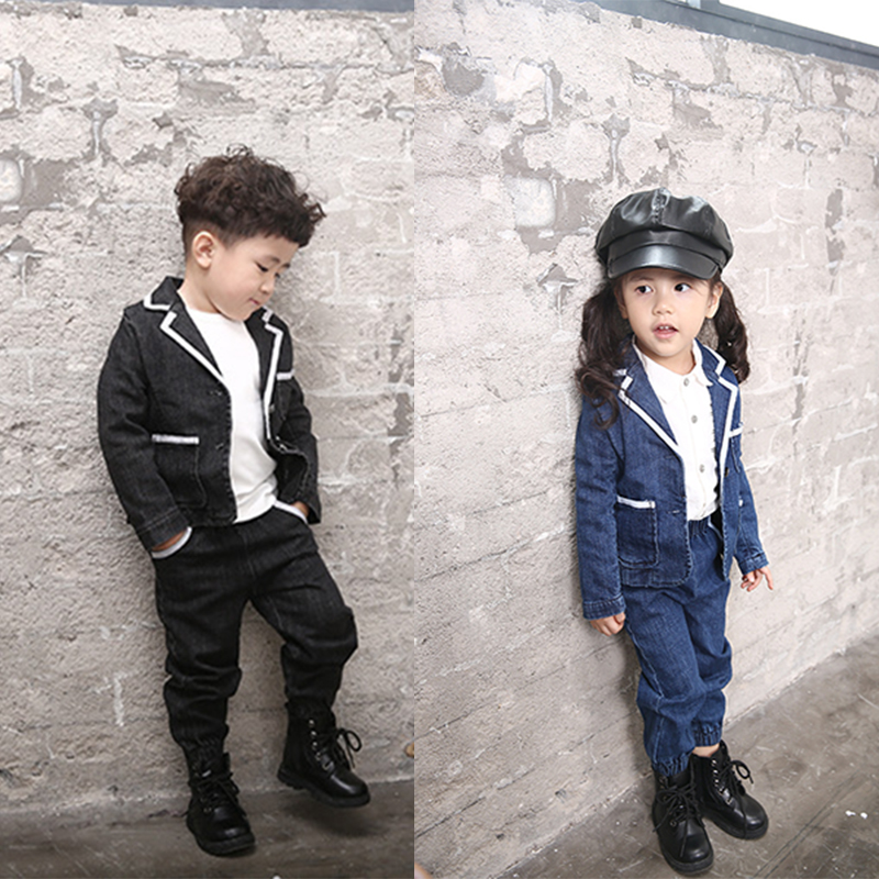 Kids Clothes Set Girls Boy Denim Blazer Set Tuxedo Suits Jacket + Jeans Pants 2pcs Causal Suit Spring Clothing Set Preppy style 2017 high quality girls luxury sequin denim jacket pants clothing set kids clothes sets jeans coat trousers two piece set