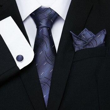 Mens Ties Gray Red Blue Paisley Tie Set Lattice Silk Necktie Pocket Square Cufflink Set New Fashion Mens Business Tie e34 blue paisley silk mens ties classic bow tie pocket square set