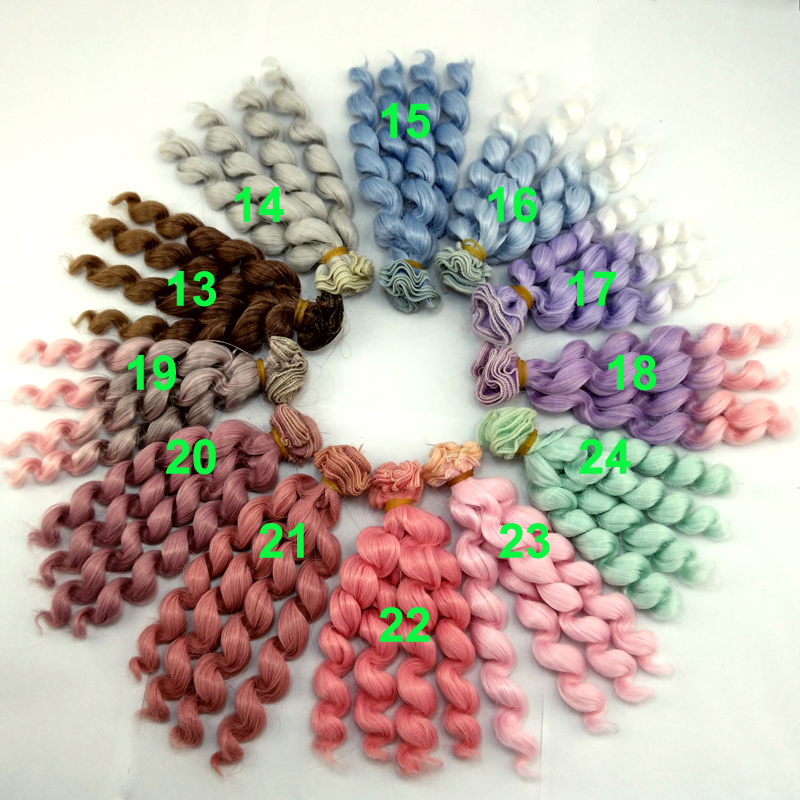 new arrival 1 piece 15cm x 100cm brunette pink green purple grey blue brown color curly doll wig hair for 1/3 1/4 1/6 BJD SD diy 25cm 100cm doll wigs hair refires bjd hair black gold brown green straight wig thick hair for 1 3 1 4 bjd diy
