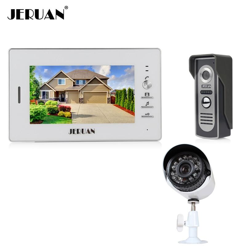 JERUAN 7 Inch Color LCD Video Door Phone Intercom System Kit 1 Outdoor Doorbell 1 IR Night Vision Camera