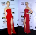 Glamorous Amber Heard Strapless Side Slit Red Long Evening Dresses 2015 Rum Diary Premiere Celebrity Red Carpet Dress