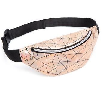 Laser Transparent Clear Bum Waist Fanny Pack for Women Chest Crossbody Beach Bag Plaid Fashion Casual