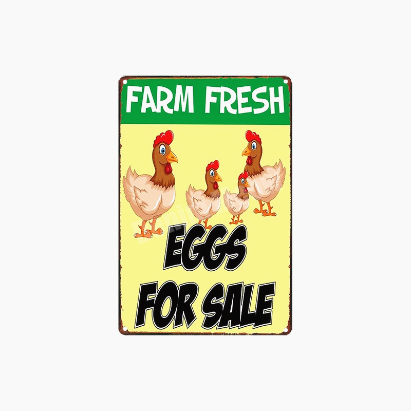 Farm Fresh Eggs Retro Plaque Happy Chicken Vintage Metal Tin Signs Farm Shop Poster Pub Bar Cafe Decoration Wall Art Decor N296 in Plaques Signs from Home Garden