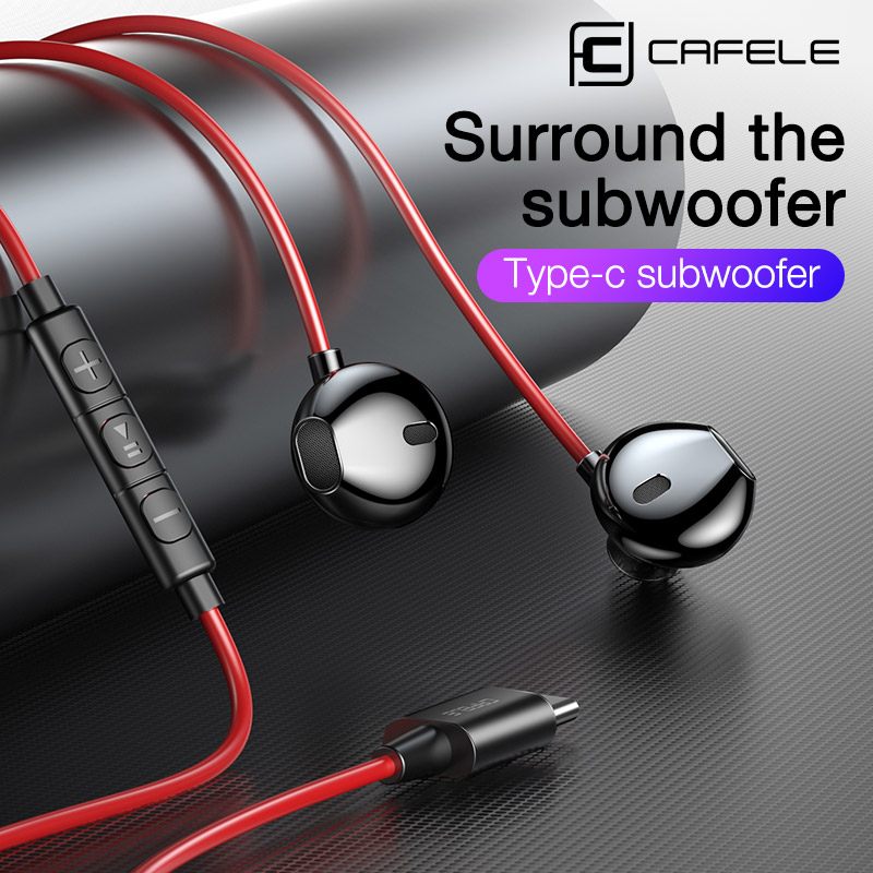 CAFELE In Ear Earphone Wired Earphones for Type C Port Phones Volume Control High Fidelity Sound Quality Music Wired Headset image