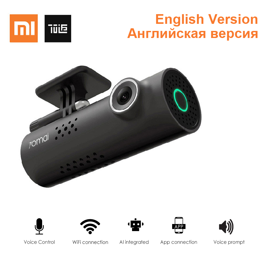 Xiaomi 70Mai 1s App Inteligente WiFi Car DVR 130 Graus Carro Traço Cam 1080P Full HD Noite Versão g-Sensor De Condução Gravador Inglês