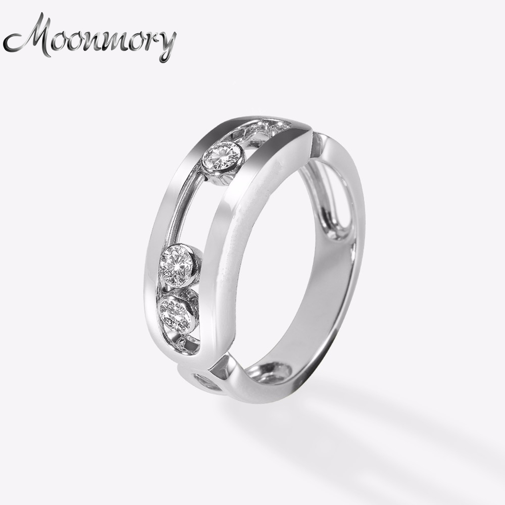 Moonmory Franch Popular 925 Sterling Silver Engagement Ring Fit For Women Three Move Zircon Silver Wedding Ring Fashion JewelryMoonmory Franch Popular 925 Sterling Silver Engagement Ring Fit For Women Three Move Zircon Silver Wedding Ring Fashion Jewelry