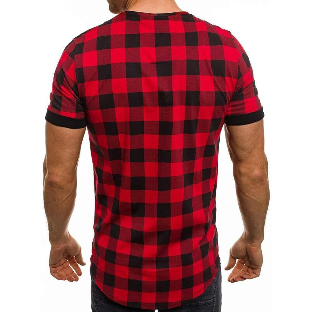 新しい夏男性半袖シャツ赤と黒のチェック柄シャツ男性シャツ2018春ファッションシュミーズオムメンズドレスシャツm-3xl