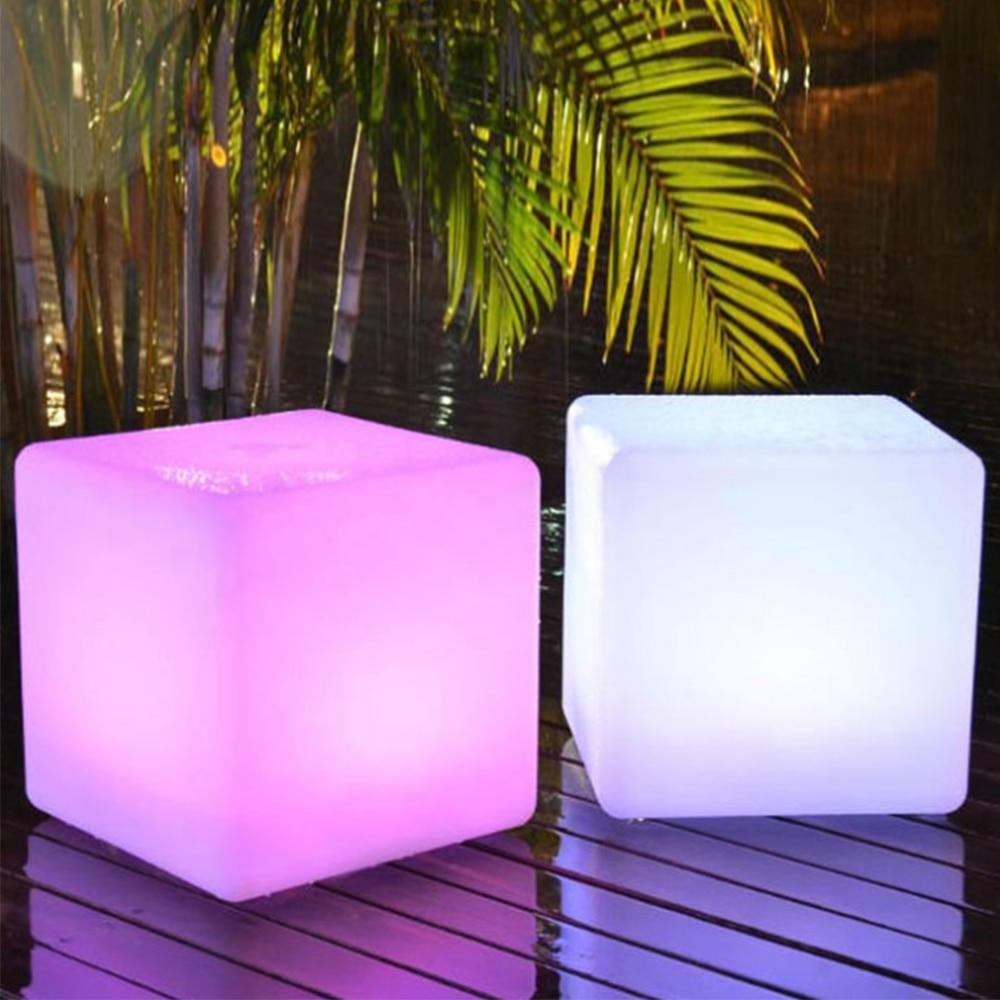 LED luminous cube 15 CM outdoor IP68 luminous furniture creative bar stool remote control 16 colorful charging side stool