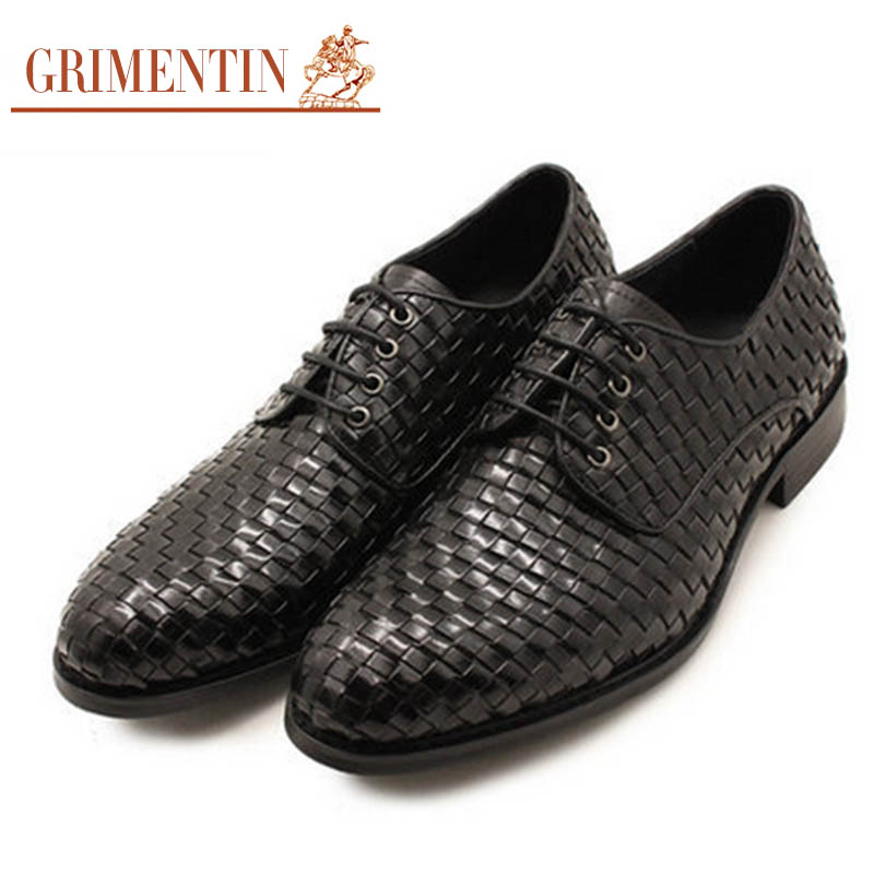 GRIMENTIN Fashion Italian Luxury Brand Men Dress Shoes Braided Round Toe Mens Business Formal Wedding Flat Shoes Size:6 10 OX939