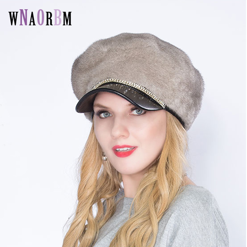 2019 real mink fur hat imported female fur cap luxury high end hat natural fur hat ladies winter warm hat with cap octagonal cap
