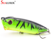 Very low prices Fishing Tackle 3D eyes With 6# Treble Hooks Popper Fishing Lure Plastic Wobbler Artificial Hard Bait 6.5CM 13G