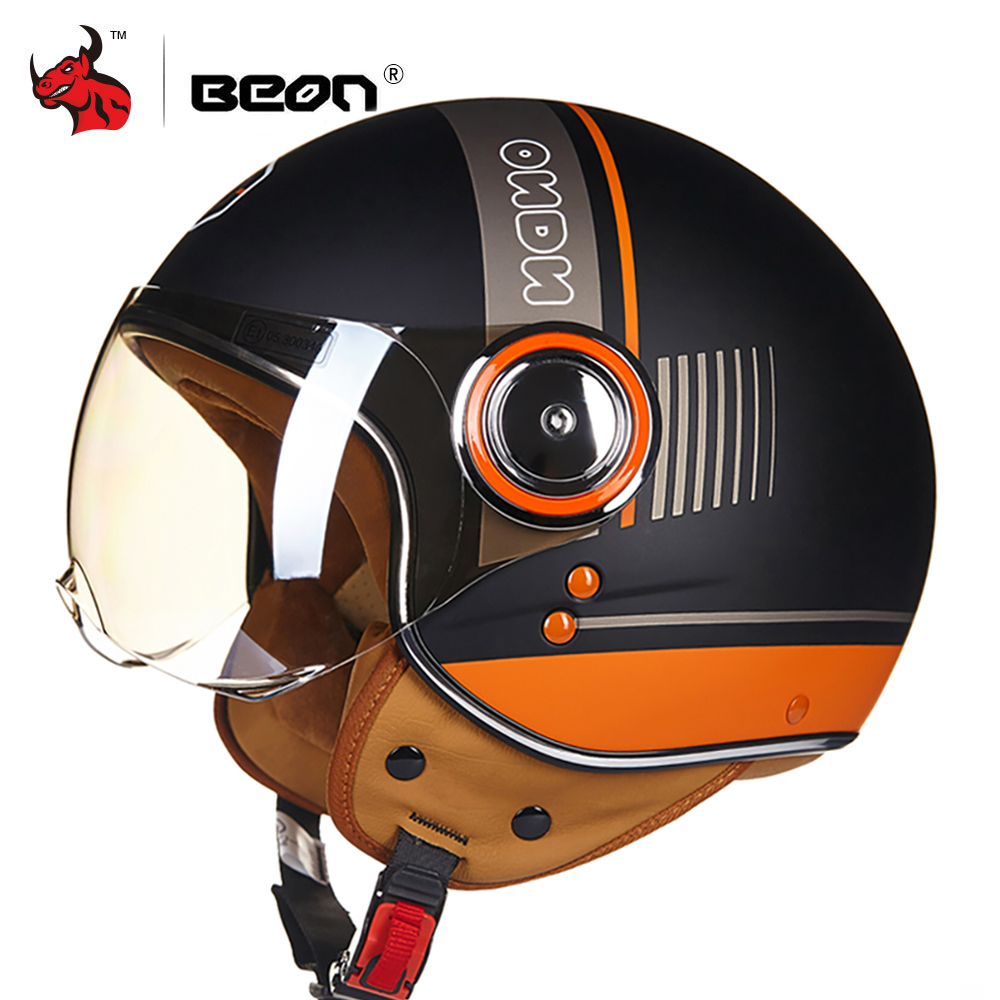 BEON Motorcycle Helmet 3 4 Open Face Moto Riding Helmets Motocross Vintage Casque Moto Casque Casco