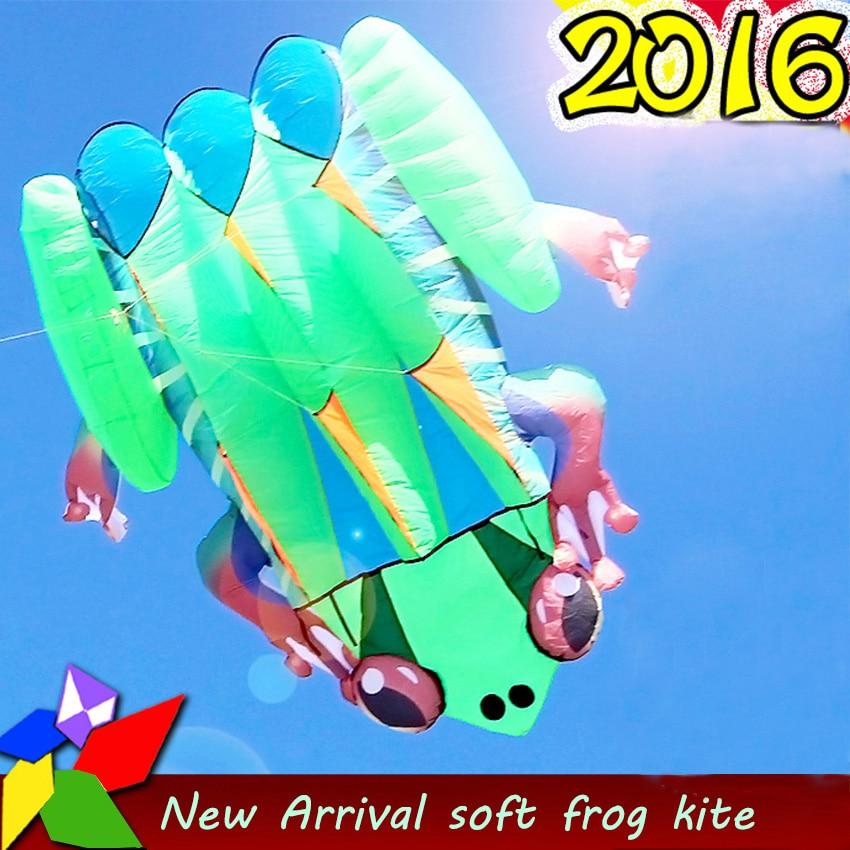 1 шт. высокое качество огромный синий/желтый задний мягкий воздушный змей «лягушка» Открытый спортивные воздушные змеи легко лететь зеленая лягушка летающая игрушка 2,4 квадратных метров