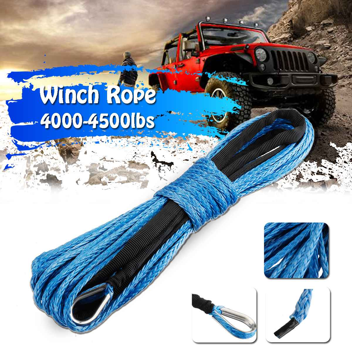 15m 7700LBs Winch Rope String Line Cable With Sheath Synthetic Towing Rope Car Wash Maintenance String For ATV UTV Off-Road