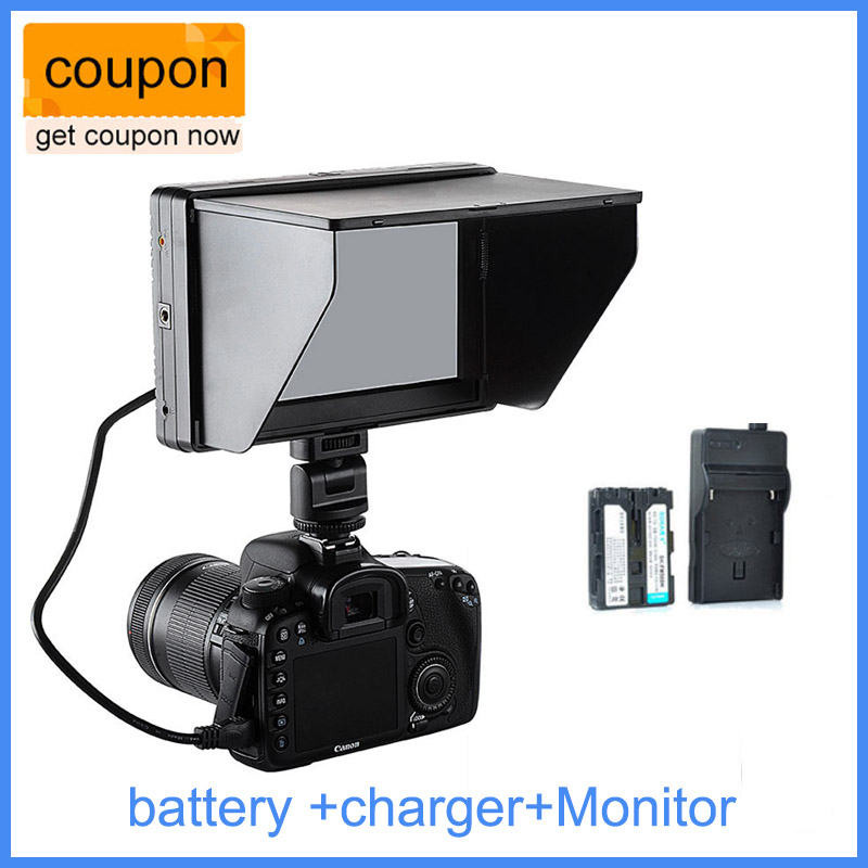 Viltrox 7 ' DC-70 II clip-on Color TFT LCD Monitor HDMI AV Input 1024*600 DSLR Camera + NP-FM500H battery + battery charger