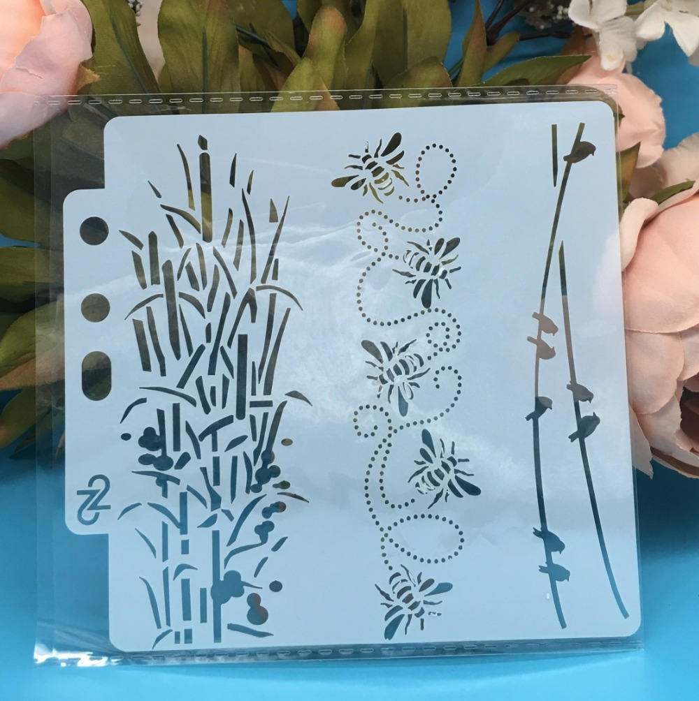 13cm New Bee Bird Leaf DIY Layering Stencils Wall Painting Scrapbook Coloring Embossing Album Decorative Card Template