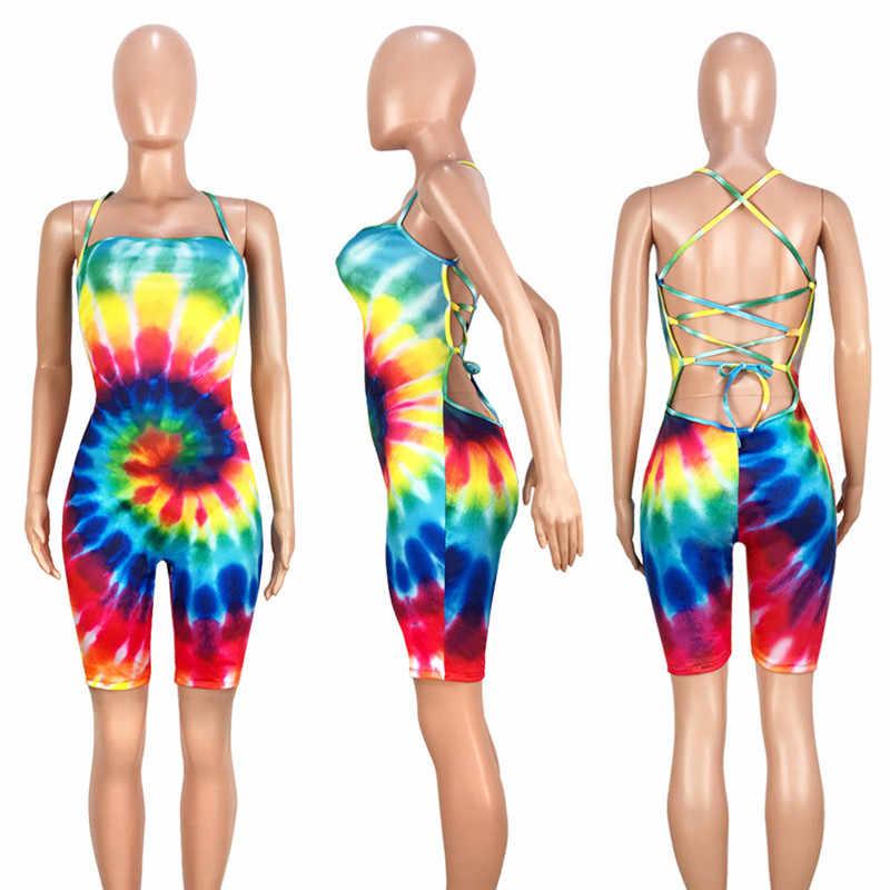 مثير Bodycon قطعة واحدة بذلة السراويل Playsuit جديد المرأة الملونة التعادل صبغ اللياقة البدنية رومبير نحيل عارية الذراعين الصيف الشاطئ داخلية