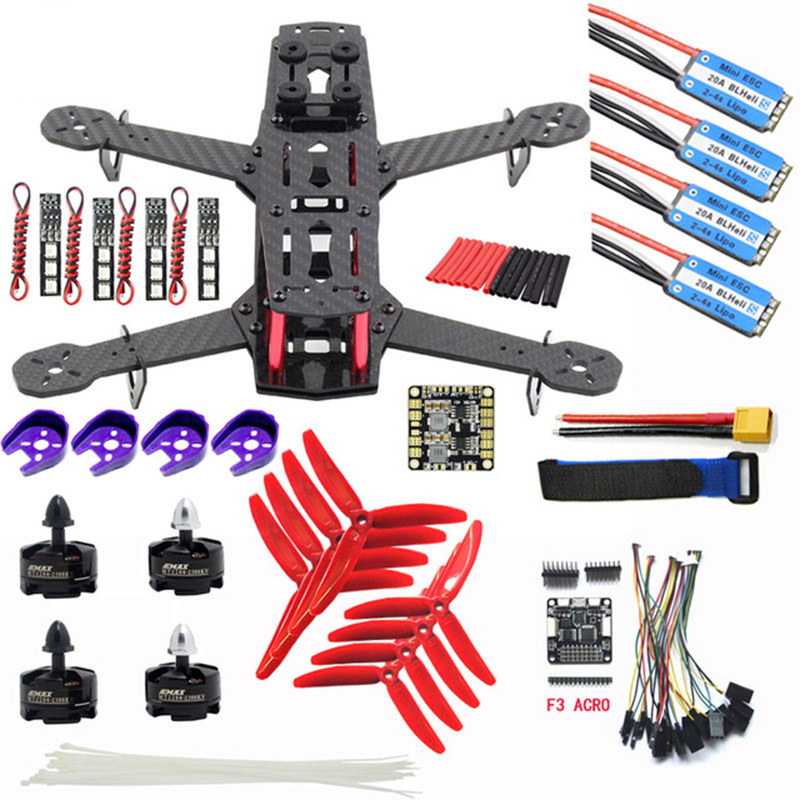 Carbon Fiber QAV250 ZMR250 Quadcopter & CC3D flight controller & Emax BLHeli 12A Esc & MT2204 2300KV Brushless Motor & 5040 Prop rcmall for qav250 250mm quadcopter pure carbon fiber frame arf cc3d flight controller emax motor simonk 12a esc diy kit dr0717