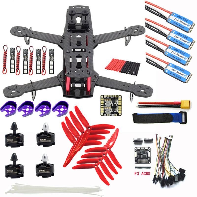 In Fibra di carbonio QAV250 ZMR250 Quadcopter & CC3D controllore di volo e Emax BLHeli 12A Esc & MT2204 2300KV Brushless Motor & 5040 PropIn Fibra di carbonio QAV250 ZMR250 Quadcopter & CC3D controllore di volo e Emax BLHeli 12A Esc & MT2204 2300KV Brushless Motor & 5040 Prop