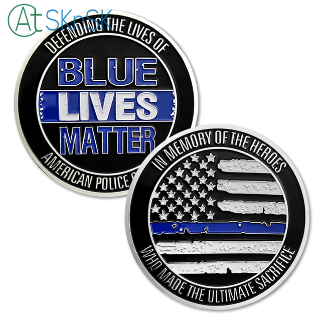 1pcs lot american blue lives matter challenge coin in memory of the