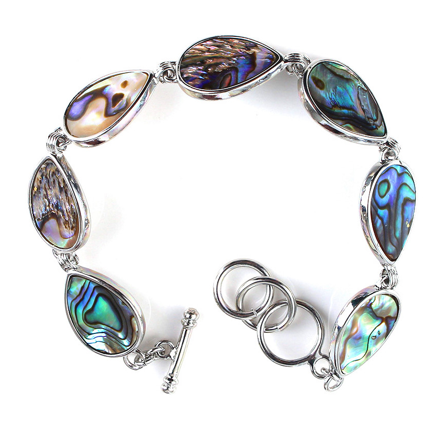 FYJS Unique Silver Plated Jewelry Abalone Shell Water Drop Bracelet for Anniversary Gift in Charm Bracelets from Jewelry Accessories