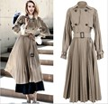 New Spring Women Long Classic Khaki Trench Coat High Belt Waist Double Waist Pleated Long Sleeve Streetwear Overcoat