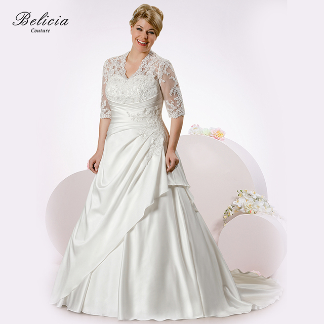 Belicia Couture Women Bridal Dress Beading Appliques Lace Wedding Dresses V Neck Floor Length Ball Gown
