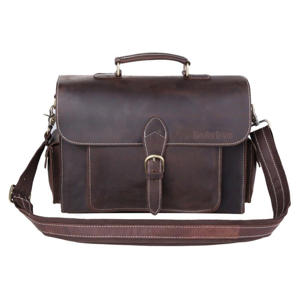 Multi Pockets Cowhide Genuine Leather Messenger Bag Shoulder Bag Cross Body Bag Sling Bag for 12 inch Laptop