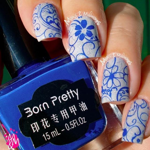 1 Bottle Born Pretty Nail Art Stamping Polish Dark Blue Nail Polish ...