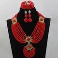 Fabuloso Pimenta Vermelha Nigeriano Casamento Beads Africanos Jóias Set 2017 Presente Do Partido Set Jóias para Mulheres Frete Grátis WD430
