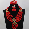 Fabulous Pepper Red Wedding Nigerian African Beads Jewelry Set 2017 Gift Party Jewelry Set for Women Free Shipping WD430