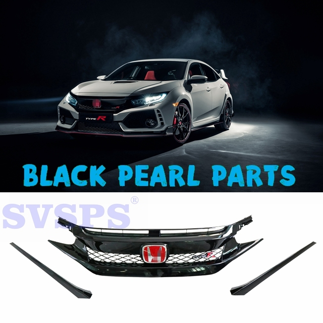 Car Styling Auto Tuning Parts Front Middle Grille Kit Abs With Emblems For Honda Civic 10th Generation 2017 2018 4 Doors 2doors