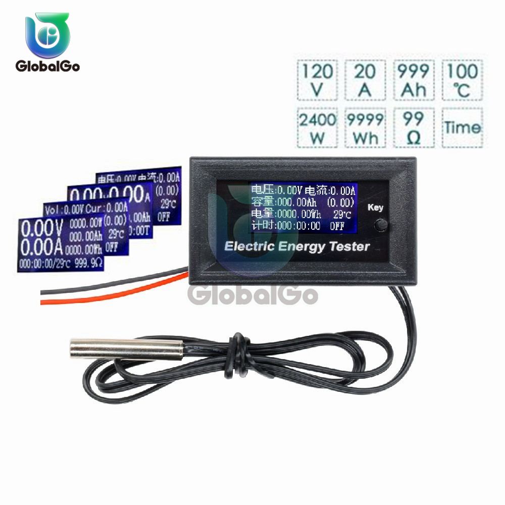7 In 1 120V 20A LCD Display Voltmeter Current Voltage Meter Ammeter Power Energy Capacity Impedance Multifunction Tester