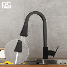 FLG Kitchen Faucets Silver Single Handle Pull Out Tap Hole Swivel 360 Degree Water Mixer