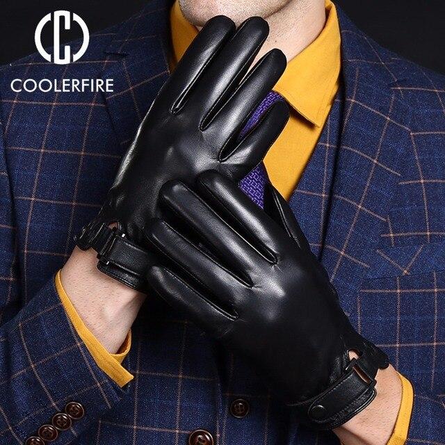 Новые дизайнерские мужские Прихватки для мангала высокое качество Пояса из натуральной кожи овчины рукавицы теплые Зимние перчатки для Модные мужские перчатки ST002