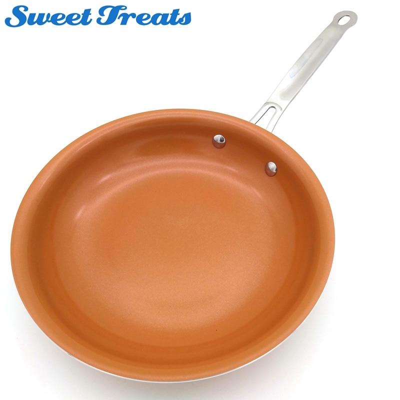 Sweettreats антипригарным Медь сковорода с керамическим покрытием и индукционных плитах, печи и мыть в посудомоечной машине