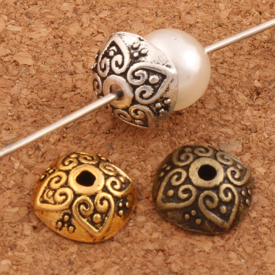 Heart Dots Bali Style Design Bead caps 9.5x9.4mm 75PCS Antique Silver/Bronze/Gold Cap Jewelry Findings Components L1048