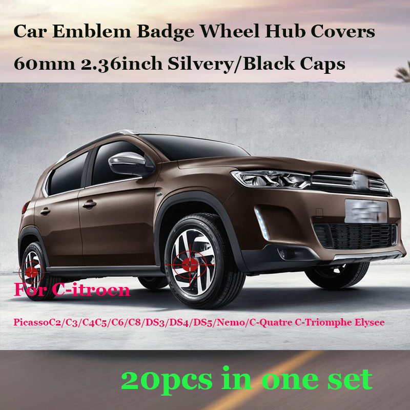 20pcs/lot For Citroen PicassoC2/C3/C4C5/C6/C8/DS3/DS4 Auto Wheel Hub Caps Car Emblem Badge Car Wheel Covers 60mm 2.36inch Label