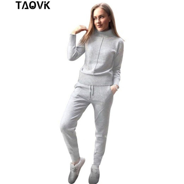 TAOVK Winter Woolen and Cashmere Knitted Warm Suit High Collar Sweater + Mink Cashmere Pants Loose Style Two-piece Set Knit 1