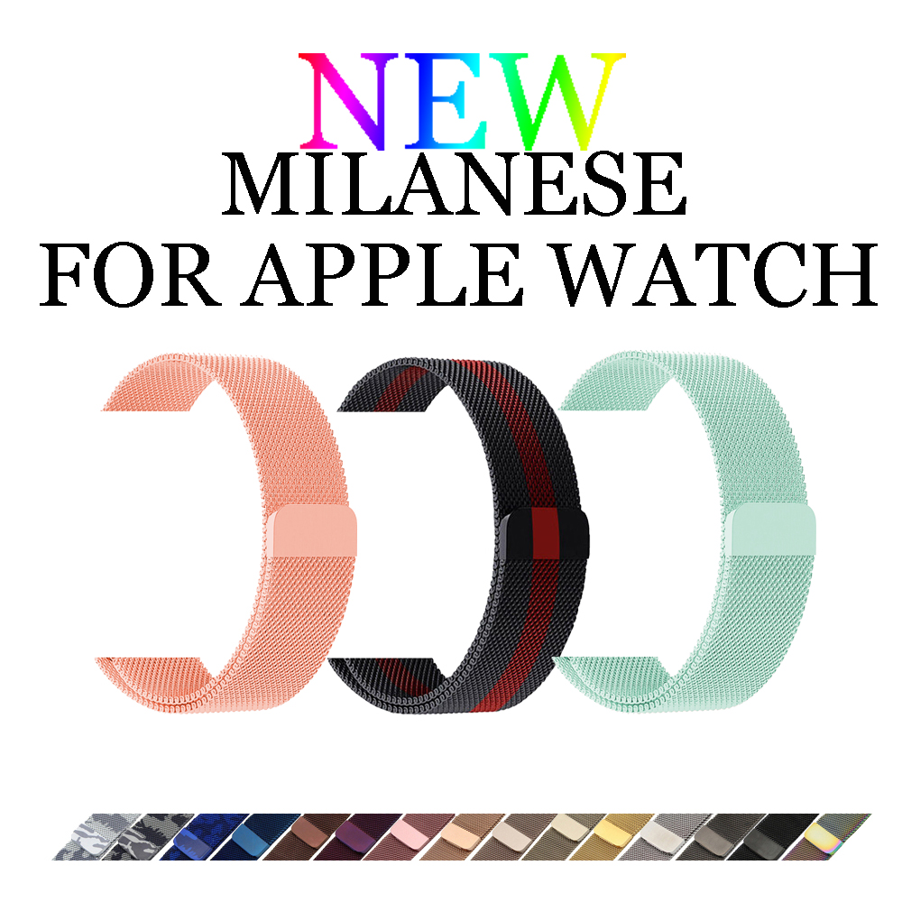 CRESTED Milanese loop strap for Iwatch Apple watch band 42mm/38mm 3/2/1 stainless steel Link Bracelet Magnetic buckle watchband