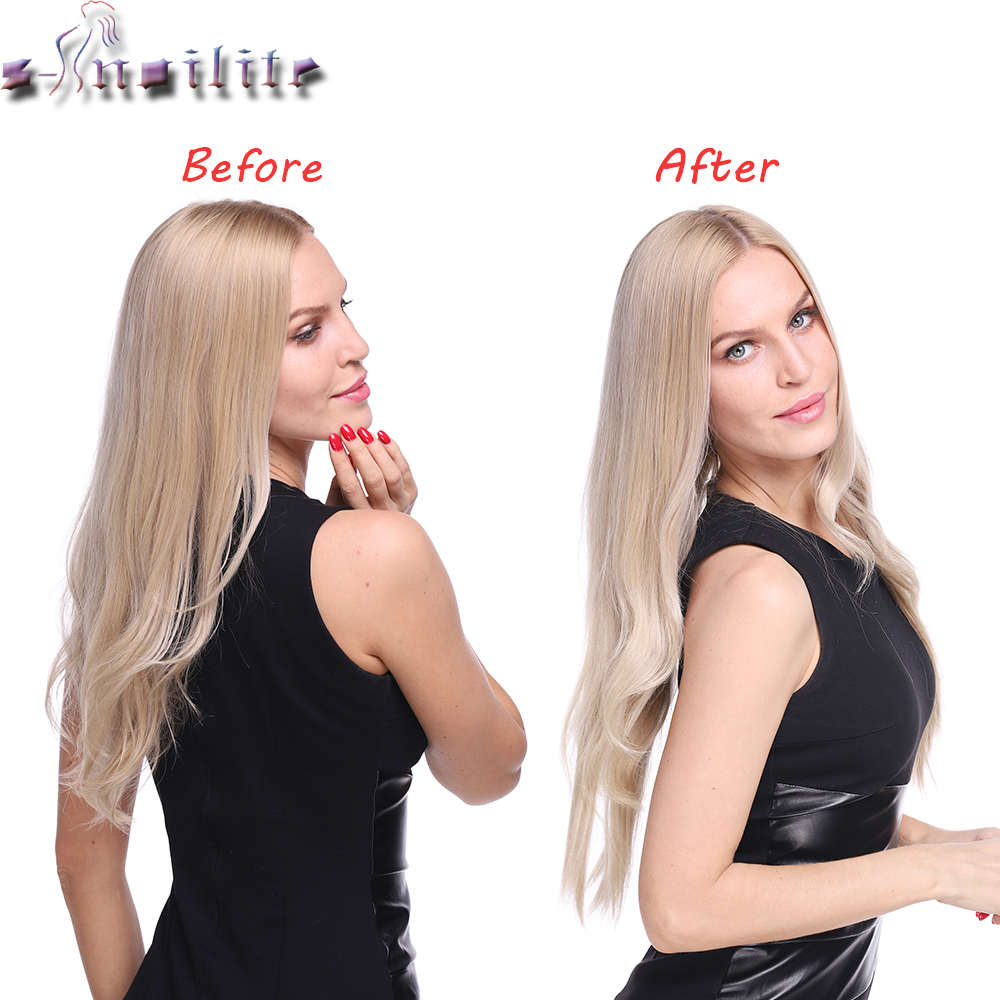 S-noilite 20 inch Invisible Wire No Clip One Piece Halo Hair Extensions Secret Fish Line Hairpieces Wave Straight Synthetic 3