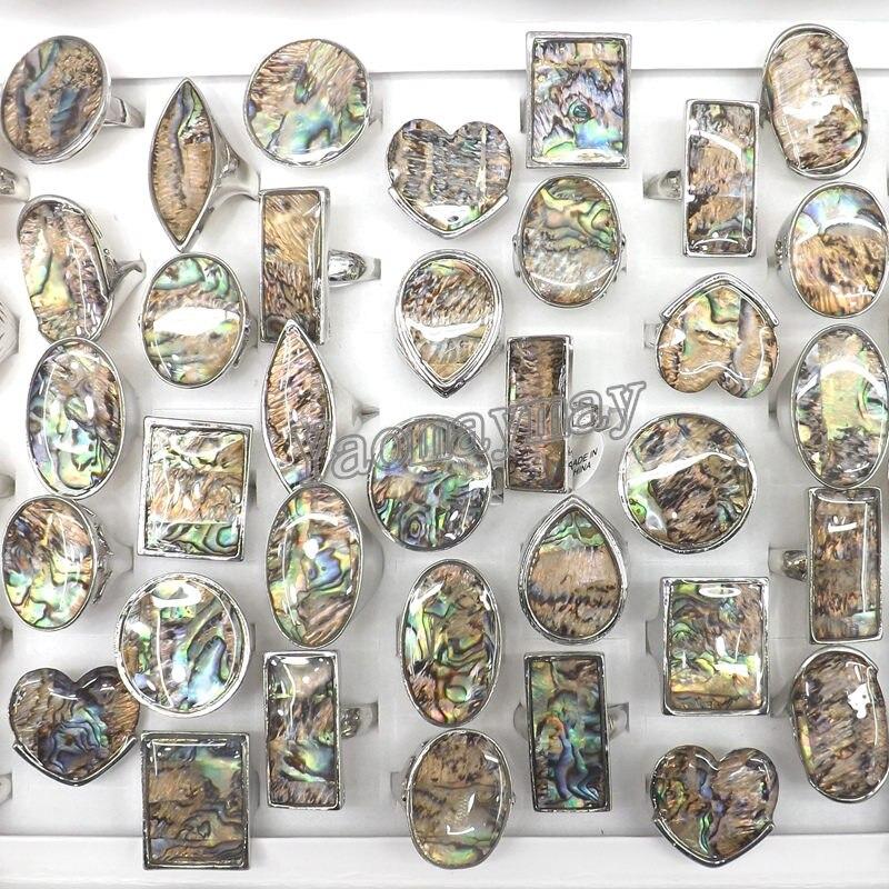 50 개/몫 큰 자연 전복 쉘 반지 라운드, 광장, 심장, 눈 모양 무료 배송-에서반지부터 쥬얼리 및 액세서리 의  그룹 1
