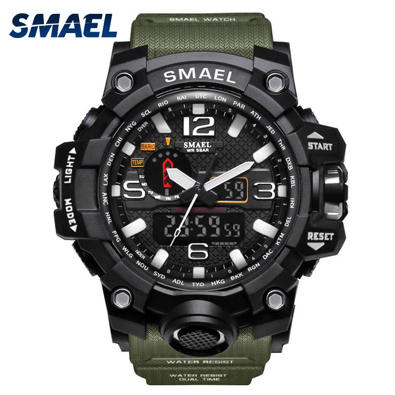 Sport Watches Waterproof SMAEL S Shock Army Green Watch Digital Men Fashion LED Watch Big Dial 1545 Mens Army Watches Military cool led watch men analog alarm s shock led digital wrist watch mens smael watch men 1637 relogio masculino sport watch running