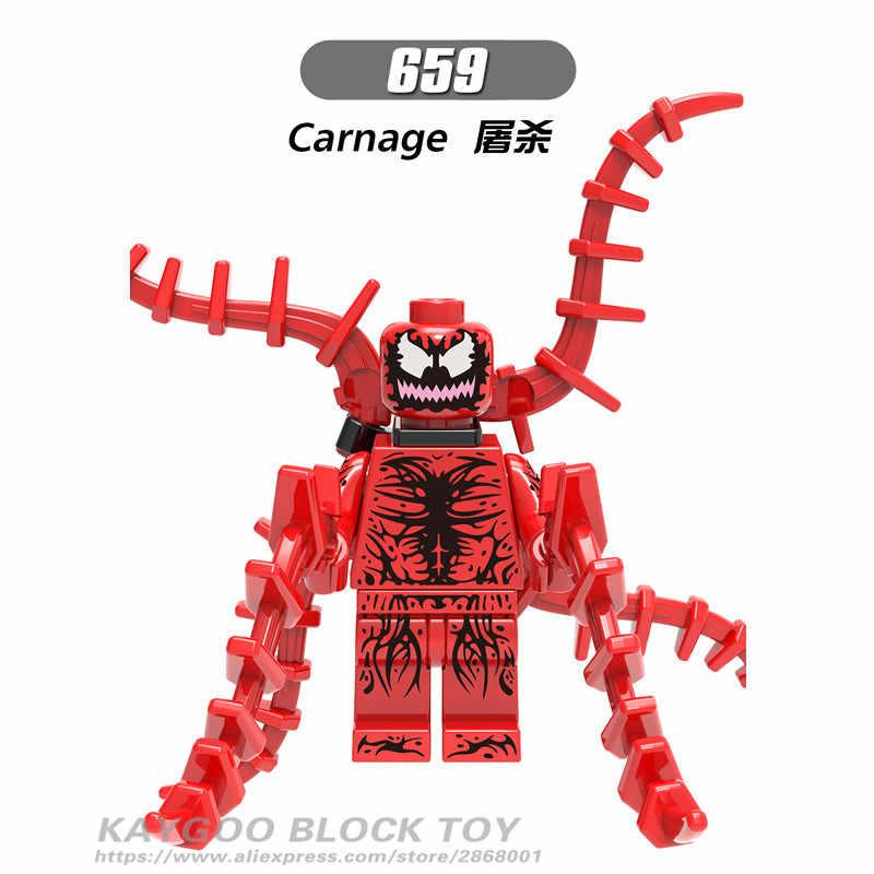Figura do homem aranha Homem Aranha Preta Dominó Super Herói Veneno Cabo Conjunto Modelo De Tijolo Blocos de Construção Kits Brinquedos Deadpool X0166 Ogiva