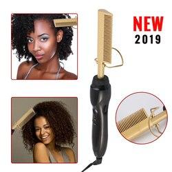 Pente elétrico alisador de cabelo varinha curling ferros quente alisamento elétrico pente liga titânio modelador cabelo pente massagem pente