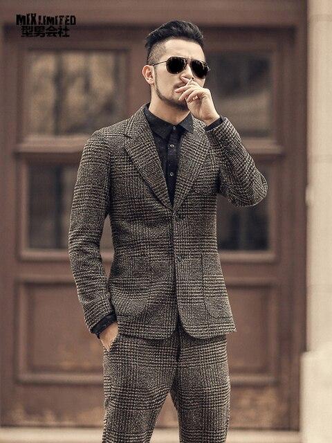 2018 الشتاء الرجال جديد الصوفية منقوشة انجلترا نمط عادية سليم البدلة متروجنس رجل عادية الأرض اللون ماركة بدلة عمل سترة